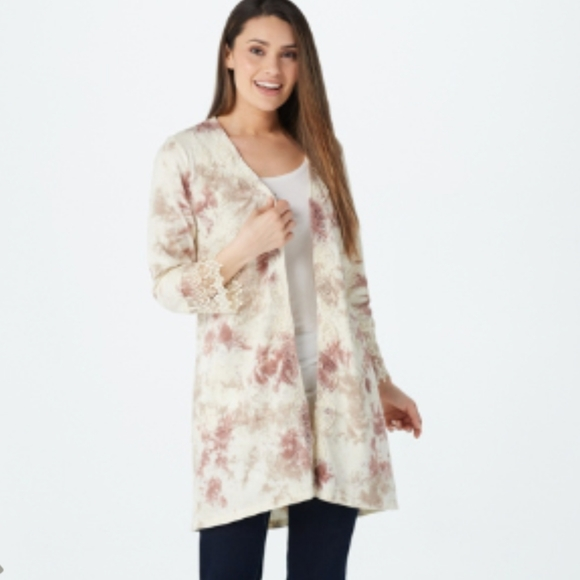 Logo lace cotton slub duster